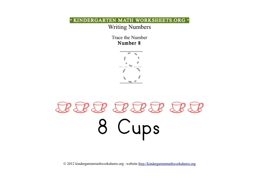 ... Math Number 8 Tracing Worksheet | Kindergarten Math Worksheets Org